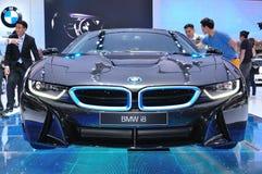 BMW NOVO I8 na exposição Fotografia de Stock Royalty Free
