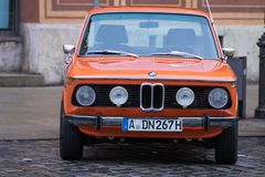 BMW 2002 oldtimer car. Augsburg, Germany - October 1, 2017: BMW 2002 oldtimer car at the Fuggerstadt Classic 2017 Oldtimer Rallye on October 1, 2017 in Augsburg Stock Photography