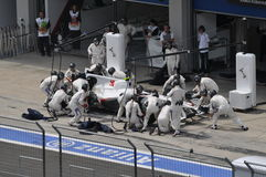 BMW in Pit. 2010 Istanbul Grand Prix, Istanbul Park royalty free stock photos