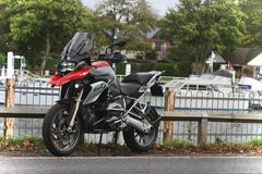 BMW R1200GS TE motorcycle at East Molesey Lock beside the river Thames in England. Stock Photos