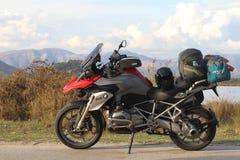 BMW R1200GS TE at Ormos Valtou near Igoumenitsa. BMW R1200GS TE at Ormos Valtou near Igoumenitsa, Greece. Profitis Ilias mountains in the background. Tall Royalty Free Stock Photography