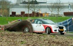 BMW rallycar dryfować w Belgia Zdjęcie Royalty Free