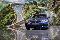 2017 BMW 5 Reeksen het Reizen auto Royalty-vrije Stock Foto's