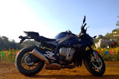 BMW S1000R 2015 Model. Lopburi,Thailand - January 6, 2018: The BMW S1000R is a naked bike motorcycle manufactured by BMW from 2014. Its aggressive engine with Royalty Free Stock Photography