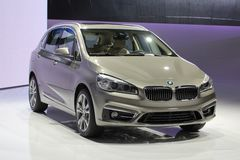 2014 BMW 2 Series Active Tourer on the Geneva Auto Salon. Dynamism und functionality of space brought together in classic BMW fashion Royalty Free Stock Photography