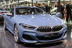 BMW 8 Series Coupe sports car. PARIS - OCT 2, 2018: BMW 8 Series Coupe sports car showcased at the Paris Motor Show stock images