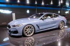 BMW 8 Series Coupe sports car. PARIS - OCT 2, 2018: BMW 8 Series Coupe sports car showcased at the Paris Motor Show royalty free stock photos