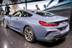 BMW 8 Series Coupe sports car. PARIS - OCT 2, 2018: BMW 8 Series Coupe sports car showcased at the Paris Motor Show royalty free stock photography