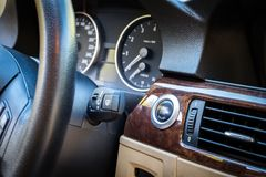 BMW 3 series E90 330i Sparkling Graphite dashboard view at the m Stock Photos