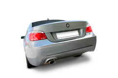 BMW 5 Series Luxury car. BMW 5 Series Sedan Luxury car back view - includes separate clipping paths and realistic shadows stock photo