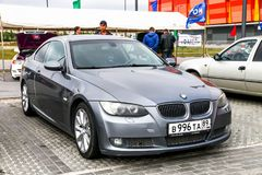 BMW 3-series. Novyy Urengoy, Russia - July 15, 2017: Motor car BMW 3-series E92 in the city street Royalty Free Stock Images