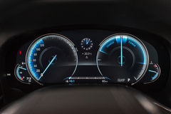 BMW 7 series speedometer. Bmw 7 series speedo which is made up using lcd panels that change colors and schemes according to the drive modes Royalty Free Stock Photography