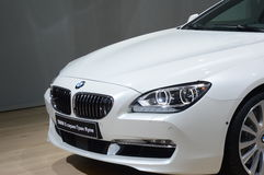 BMW Sixth Series White Color Moscow International Automobile Salon Royalty Free Stock Photo