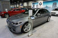 BMW skärm på den auto showen Royaltyfria Foton