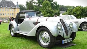 BMW 319/1 Sport Roadster classic 1930s car. On display during 2016 Classic Days at Dyck castle in Germany stock footage