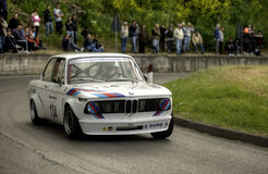 BMW 2002 TI. A BMW 2002 TI attends the 27th edition of Camucia Cortona, a competition race of hill-climb for hystorical cars valid for CSAI italian hill climb Stock Images