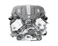BMW TwinPower turbo V8-cylinder top-of-the-range petrol engine isolated Stock Images