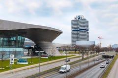 BMW ulicy i muzeum widok w Monachium, Niemcy Fotografia Royalty Free