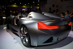 BMW Vision EfficientDynamics. Predecessor to the i8, plug-in hybrid, with a three cylinder turbodiesel engine Stock Photos