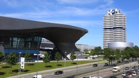 BMW Welt and BMW Headquarters in Munich stock video