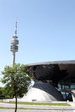 BMW Welt with Olympia Park Tower at Munich, Germany stock photography