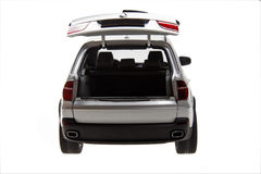 BMW x5 back-corner view. BMW x5 suv car's back-corner view isolated on white background Royalty Free Stock Photo