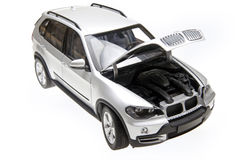 BMW X5 bonnet open. BMW X5 suv car's bonnet opened Stock Images