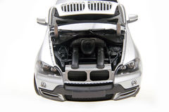 BMW X5 SUV bonnet open. Engine of BMW X5 suv car. Bonnet open position Stock Photo
