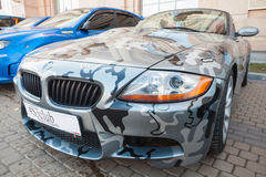 BMW z4 roadster car with camouflage paintings Stock Image