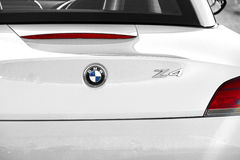 Bmw z4 sportscar. Photo of a white bmw z4 sportscar showing trim details to rear of car photo ideal for transport,luxury cars etc Royalty Free Stock Images