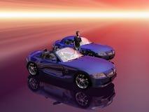 BMW Z4 2.5 I sportscar met bevorderingsmodel. Stock Afbeeldingen
