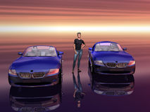 Bmw Z4 2.5 i sportscar with promotion model. Royalty Free Stock Photo