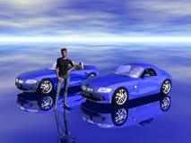Bmw Z4 2.5 i sportscar with promotion model. Stock Image