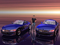 Bmw Z4 2.5 i sportscar with promotion model. Stock Photography