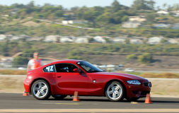 BMW Z4 Coupe. Red german sports car competing in autocross Stock Photography