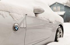 BMW Z4 in sneeuw Royalty-vrije Stock Foto