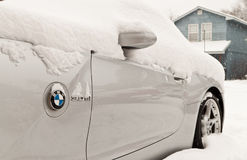 BMW Z4 in snow Royalty Free Stock Photo