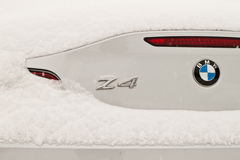 BMW Z4 in snow Royalty Free Stock Images