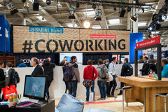 BMWI Bund coworking stand. Visitors on exhibition Cebit 2017 in Hannover Messe, Germany royalty free stock images