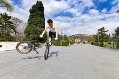 BMX在室外滑板的公园的自行车特技 免版税图库摄影