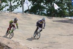 BMX泰国冠军2014年-骑自行车者6月15日,未认出的 免版税库存照片