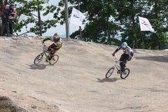 BMX泰国冠军2014年-骑自行车者6月15日,未认出的 免版税库存图片