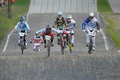 BMX赛跑的波兰冠军 免版税库存照片