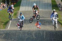 BMX赛跑的波兰冠军 库存图片