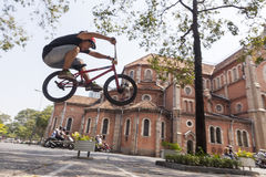 BMX acrobat in Vietnam Royalty Free Stock Photo