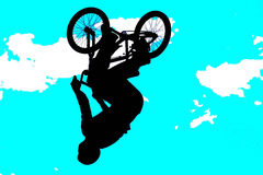 BMX art 003. A BMX rider on a bike, art and photo illustration Royalty Free Stock Images