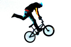 BMX art 010. A BMX rider on a bike, art and photo illustration Stock Photos