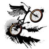 Bmx bicycle grunge background. Bmx bicycle with wings grunge background Stock Photo