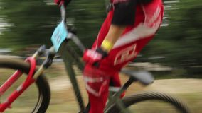 BMX bicycle ride, beat the time competition, racer in helmet. Stock footage stock video footage