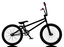Bmx bicycle silhouette. One bmx bicycle in silhouette studio on white background stock photos
